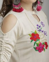 Off White Embroidered Cold Shoulder Sleeves embroidery